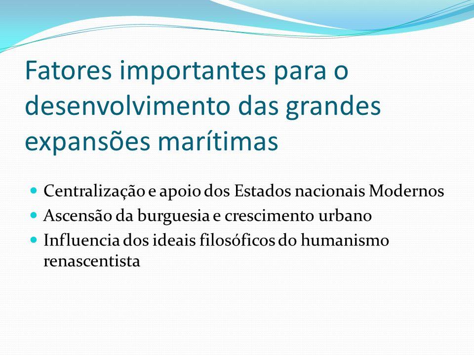 Fatores importantes para o desenvolvimento das grandes expansões marítimas Centralização e apoio dos Estados nacionais Modernos Ascensão da burguesia