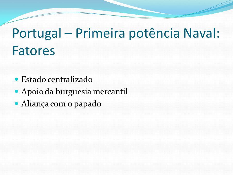 Portugal – Primeira potência Naval: Fatores Estado centralizado Apoio da burguesia mercantil Aliança com o papado