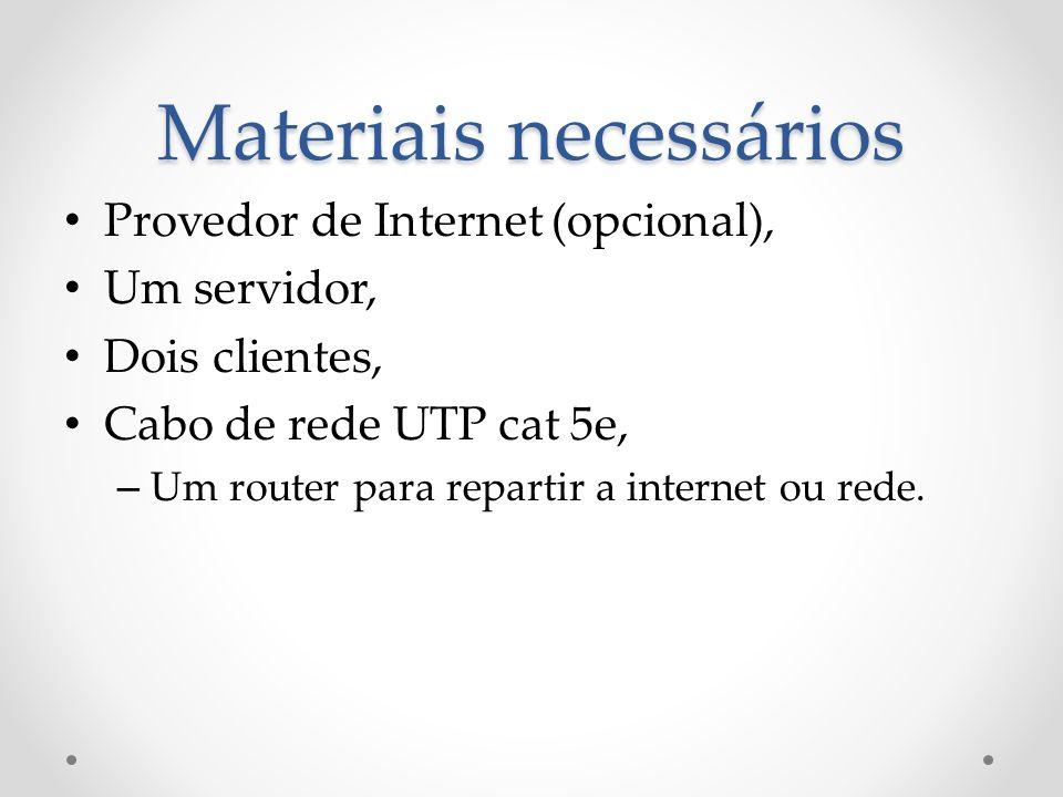 Provedor de Internet (opcional), Um servidor, Dois clientes, Cabo de rede UTP cat 5e, – Um router para repartir a internet ou rede. Materiais necessár