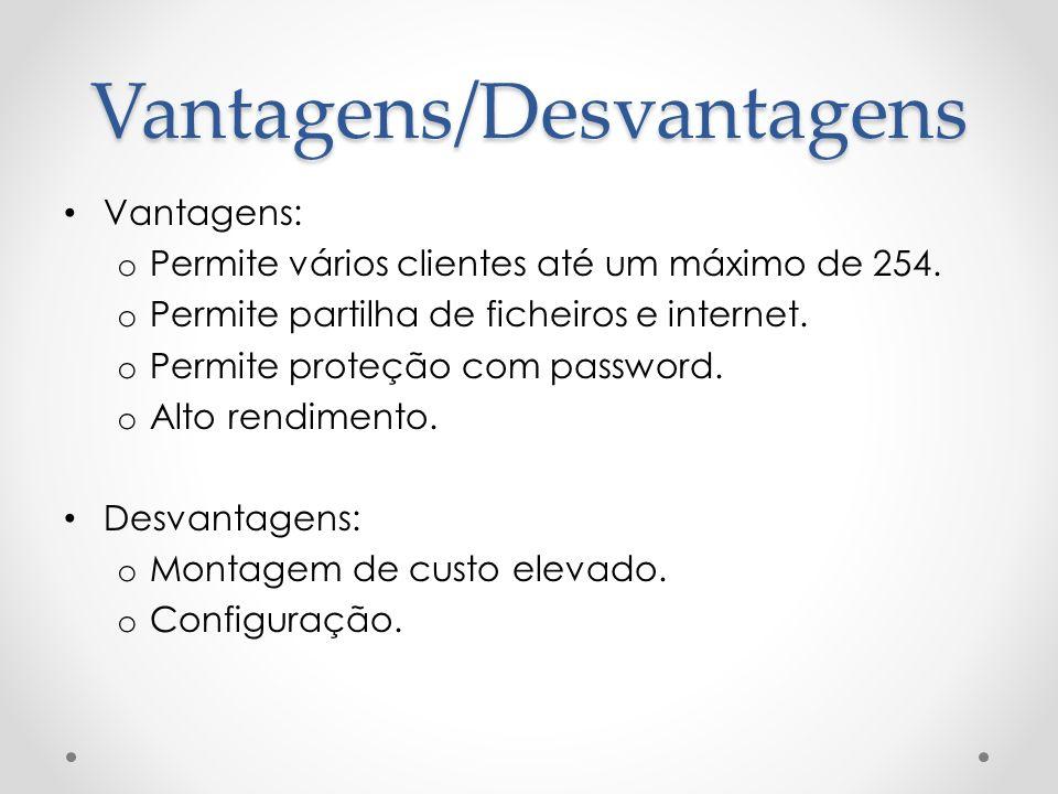 Vantagens: o Permite vários clientes até um máximo de 254. o Permite partilha de ficheiros e internet. o Permite proteção com password. o Alto rendime
