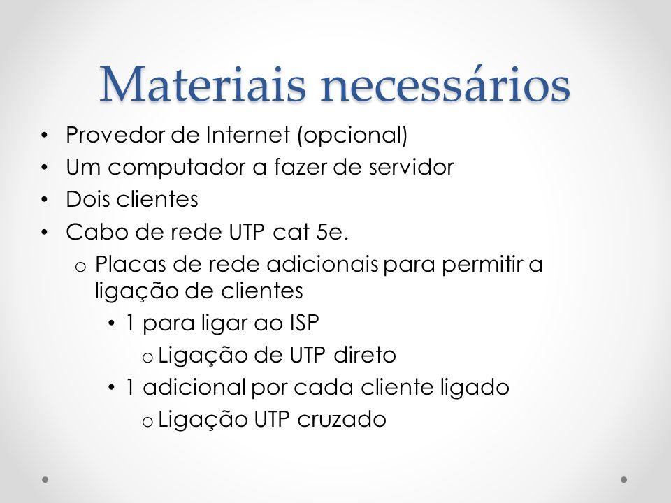 Materiais necessários Provedor de Internet (opcional) Um computador a fazer de servidor Dois clientes Cabo de rede UTP cat 5e. o Placas de rede adicio