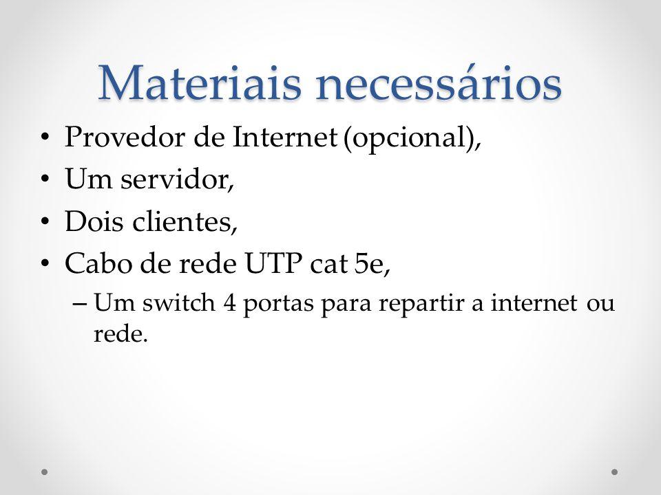 Materiais necessários Provedor de Internet (opcional), Um servidor, Dois clientes, Cabo de rede UTP cat 5e, – Um switch 4 portas para repartir a inter