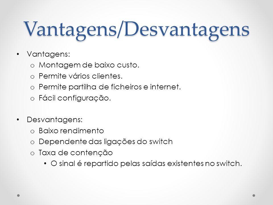 Vantagens: o Montagem de baixo custo. o Permite vários clientes. o Permite partilha de ficheiros e internet. o Fácil configuração. Desvantagens: o Bai