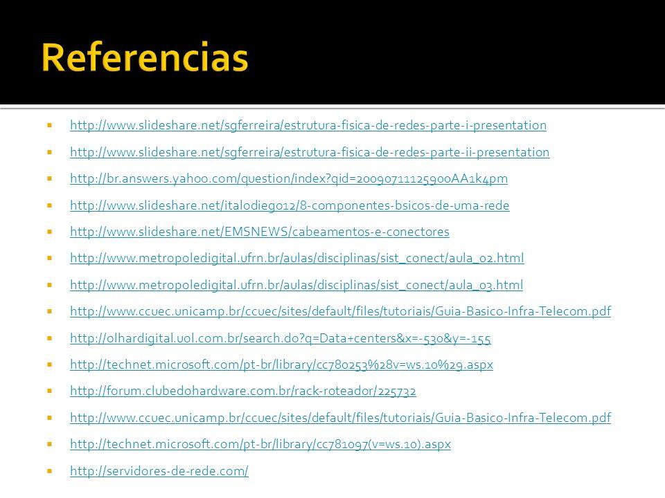 http://www.slideshare.net/sgferreira/estrutura-fisica-de-redes-parte-i-presentation http://www.slideshare.net/sgferreira/estrutura-fisica-de-redes-parte-ii-presentation http://br.answers.yahoo.com/question/index?qid=20090711125900AA1k4pm http://www.slideshare.net/italodiego12/8-componentes-bsicos-de-uma-rede http://www.slideshare.net/EMSNEWS/cabeamentos-e-conectores http://www.metropoledigital.ufrn.br/aulas/disciplinas/sist_conect/aula_02.html http://www.metropoledigital.ufrn.br/aulas/disciplinas/sist_conect/aula_03.html http://www.ccuec.unicamp.br/ccuec/sites/default/files/tutoriais/Guia-Basico-Infra-Telecom.pdf http://olhardigital.uol.com.br/search.do?q=Data+centers&x=-530&y=-155 http://technet.microsoft.com/pt-br/library/cc780253%28v=ws.10%29.aspx http://forum.clubedohardware.com.br/rack-roteador/225732 http://www.ccuec.unicamp.br/ccuec/sites/default/files/tutoriais/Guia-Basico-Infra-Telecom.pdf http://technet.microsoft.com/pt-br/library/cc781097(v=ws.10).aspx http://servidores-de-rede.com/