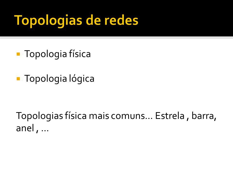 Topologia física Topologia lógica Topologias física mais comuns... Estrela, barra, anel,...
