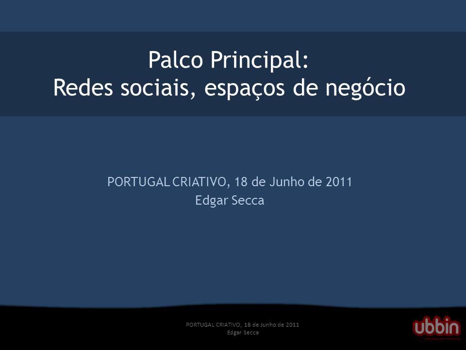 PORTUGAL CRIATIVO, 18 de Junho de 2011 Edgar Secca Palco Principal: Redes sociais, espaços de negócio PORTUGAL CRIATIVO, 18 de Junho de 2011 Edgar Secca