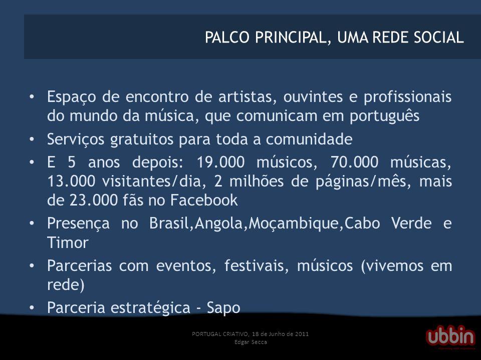 PORTUGAL CRIATIVO, 18 de Junho de 2011 Edgar Secca PALCO PRINCIPAL, UMA REDE SOCIAL Espaço de encontro de artistas, ouvintes e profissionais do mundo da música, que comunicam em português Serviços gratuitos para toda a comunidade E 5 anos depois: 19.000 músicos, 70.000 músicas, 13.000 visitantes/dia, 2 milhões de páginas/mês, mais de 23.000 fãs no Facebook Presença no Brasil,Angola,Moçambique,Cabo Verde e Timor Parcerias com eventos, festivais, músicos (vivemos em rede) Parceria estratégica - Sapo
