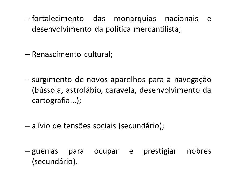 – fortalecimento das monarquias nacionais e desenvolvimento da política mercantilista; – Renascimento cultural; – surgimento de novos aparelhos para a