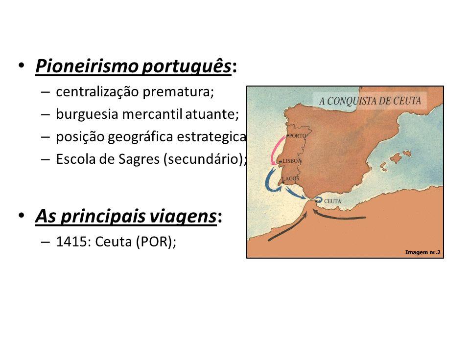 Pioneirismo português: – centralização prematura; – burguesia mercantil atuante; – posição geográfica estrategicamente favorável; – Escola de Sagres (