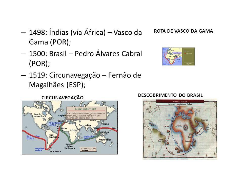– 1498: Índias (via África) – Vasco da Gama (POR); – 1500: Brasil – Pedro Álvares Cabral (POR); – 1519: Circunavegação – Fernão de Magalhães (ESP); CI