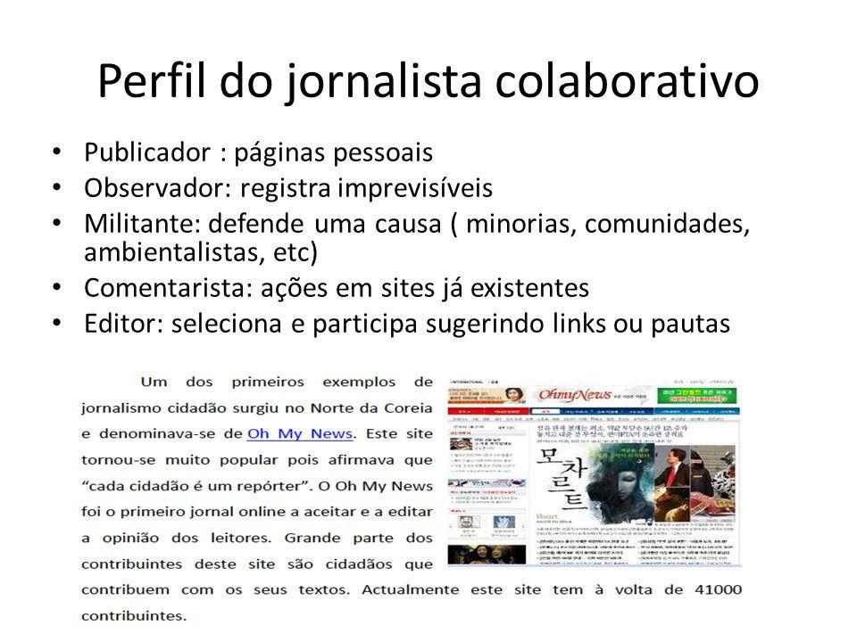 Perfil do jornalista colaborativo Publicador : páginas pessoais Observador: registra imprevisíveis Militante: defende uma causa ( minorias, comunidade