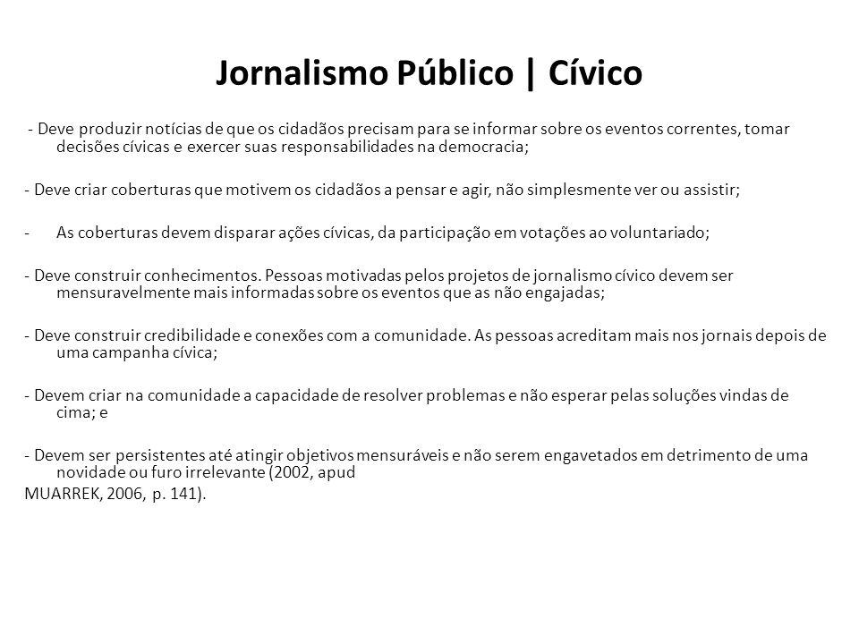 Jornalismo Público | Cívico - Deve produzir notícias de que os cidadãos precisam para se informar sobre os eventos correntes, tomar decisões cívicas e