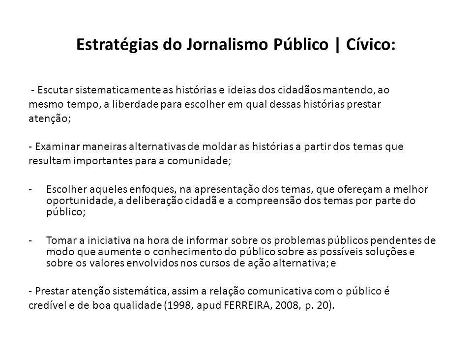 Estratégias do Jornalismo Público | Cívico: - Escutar sistematicamente as histórias e ideias dos cidadãos mantendo, ao mesmo tempo, a liberdade para e