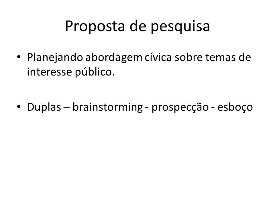 Proposta de pesquisa Planejando abordagem cívica sobre temas de interesse público. Duplas – brainstorming - prospecção - esboço