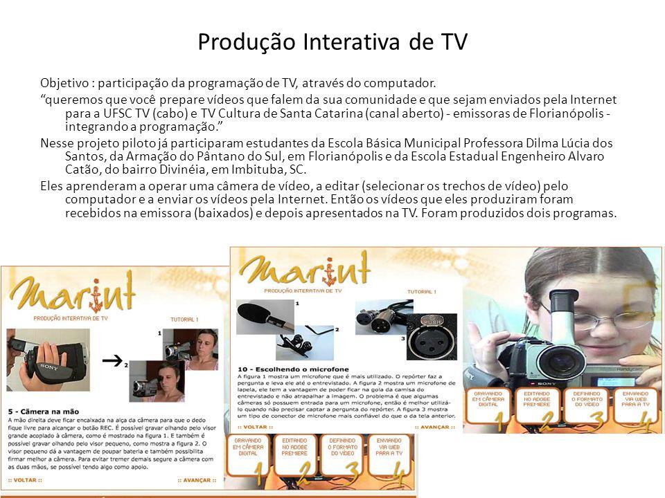Produção Interativa de TV Objetivo : participação da programação de TV, através do computador. queremos que você prepare vídeos que falem da sua comun