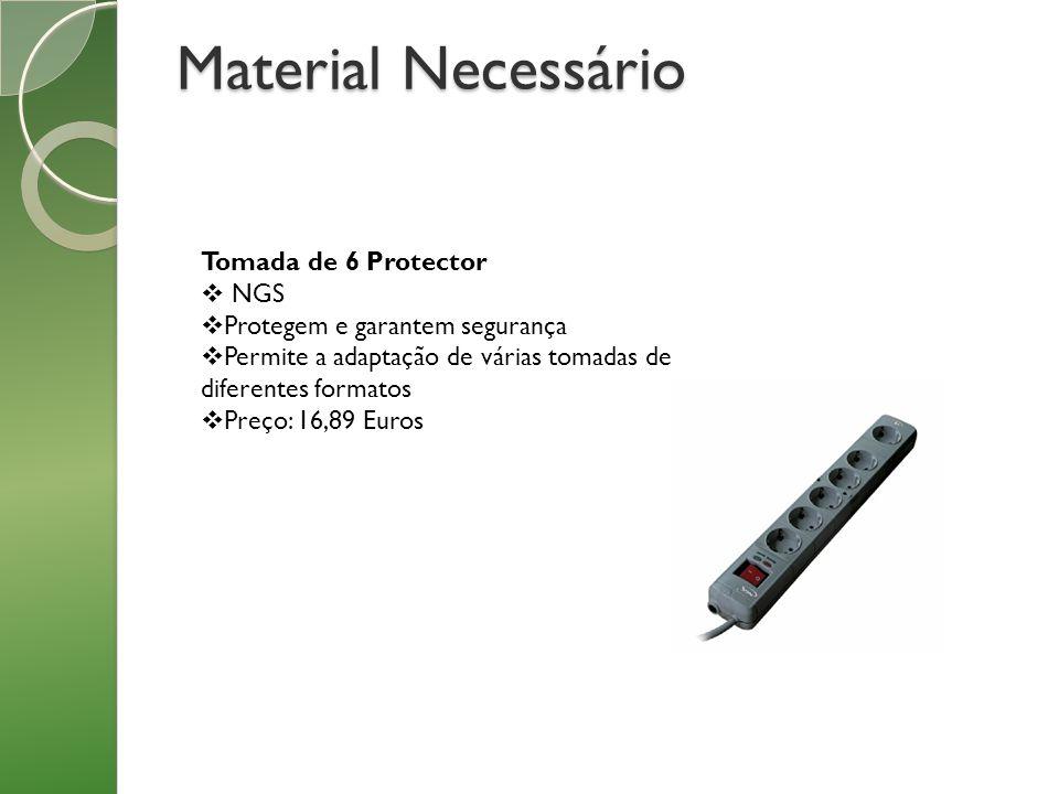 Material Necessário Tomada de 6 Protector NGS Protegem e garantem segurança Permite a adaptação de várias tomadas de diferentes formatos Preço: 16,89