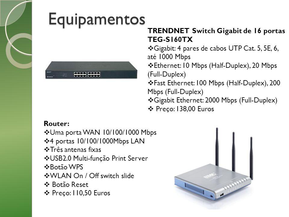 Equipamentos TRENDNET Switch Gigabit de 16 portas TEG-S160TX Gigabit: 4 pares de cabos UTP Cat. 5, 5E, 6, até 1000 Mbps Ethernet: 10 Mbps (Half-Duplex