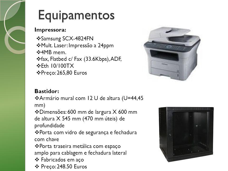 Equipamentos Impressora: Bastidor: Armário mural com 12 U de altura (U=44,45 mm) Dimensões: 600 mm de largura X 600 mm de altura X 545 mm (470 mm útei