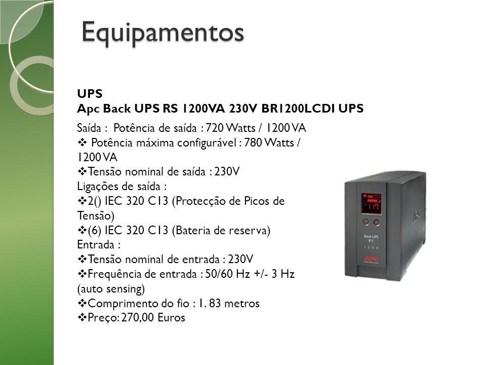 Equipamentos UPS Apc Back UPS RS 1200VA 230V BR1200LCDI UPS Saída : Potência de saída : 720 Watts / 1200 VA Potência máxima configurável : 780 Watts /