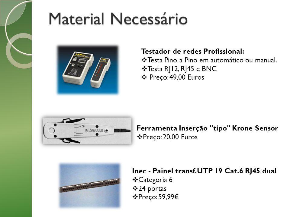 Material Necessário Testador de redes Profissional: Testa Pino a Pino em automático ou manual. Testa RJ12, RJ45 e BNC Preço: 49,00 Euros Ferramenta In