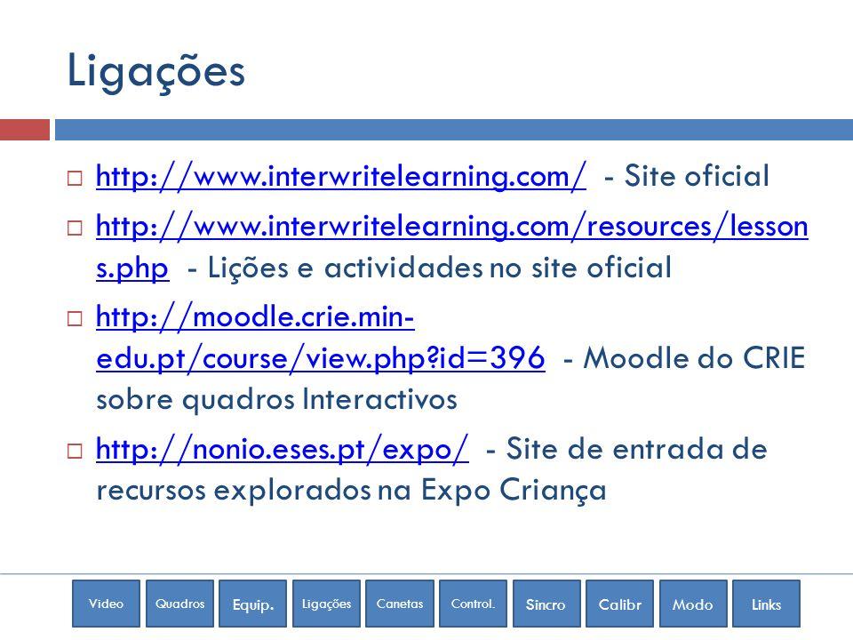 VideoQuadros Equip. LigaçõesCanetasControl. SincroCalibrModoLinks Ligações http://www.interwritelearning.com/ - Site oficial http://www.interwritelear