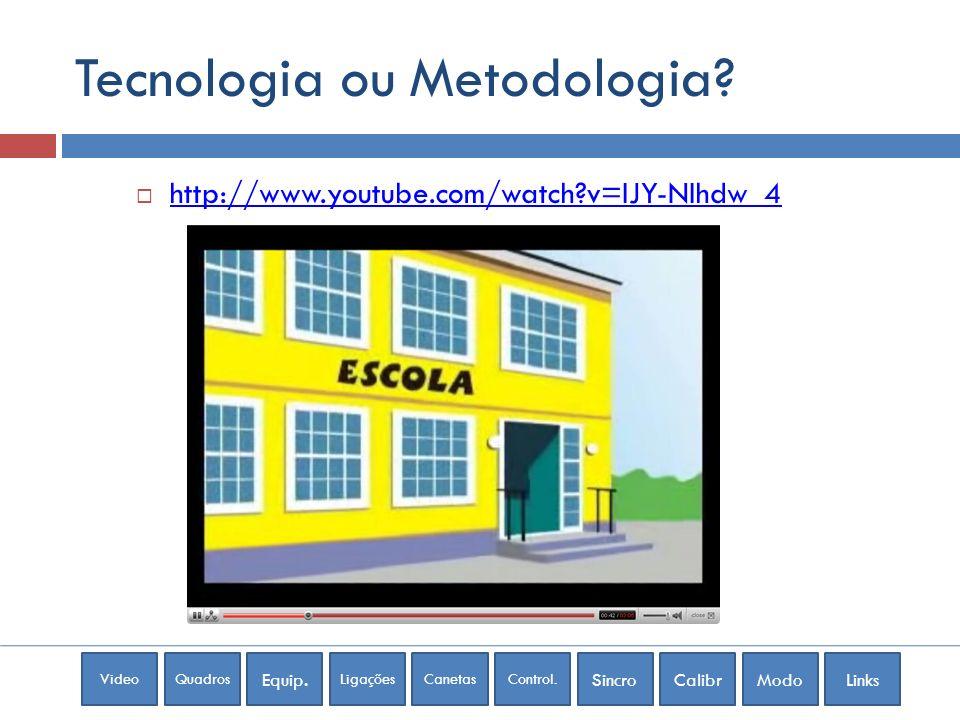 VideoQuadros Equip. LigaçõesCanetasControl. SincroCalibrModoLinks Tecnologia ou Metodologia? http://www.youtube.com/watch?v=IJY-NIhdw_4