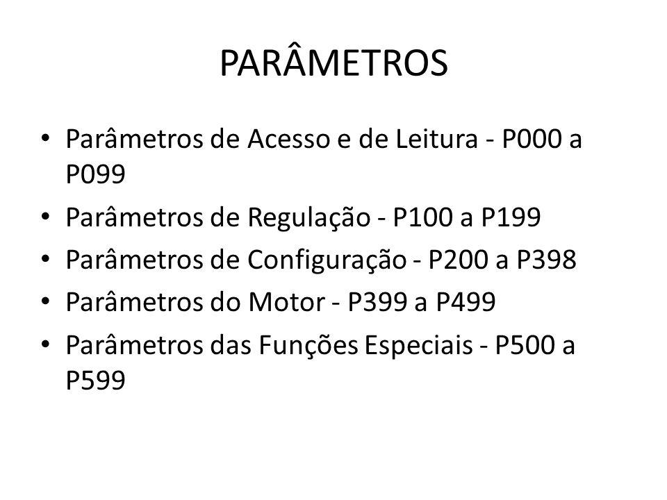 PARÂMETROS Parâmetros de Acesso e de Leitura - P000 a P099 Parâmetros de Regulação - P100 a P199 Parâmetros de Configuração - P200 a P398 Parâmetros d
