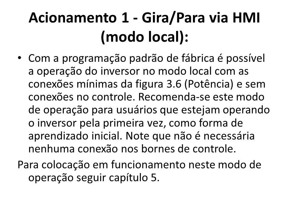 Acionamento 1 - Gira/Para via HMI (modo local): Com a programação padrão de fábrica é possível a operação do inversor no modo local com as conexões mí