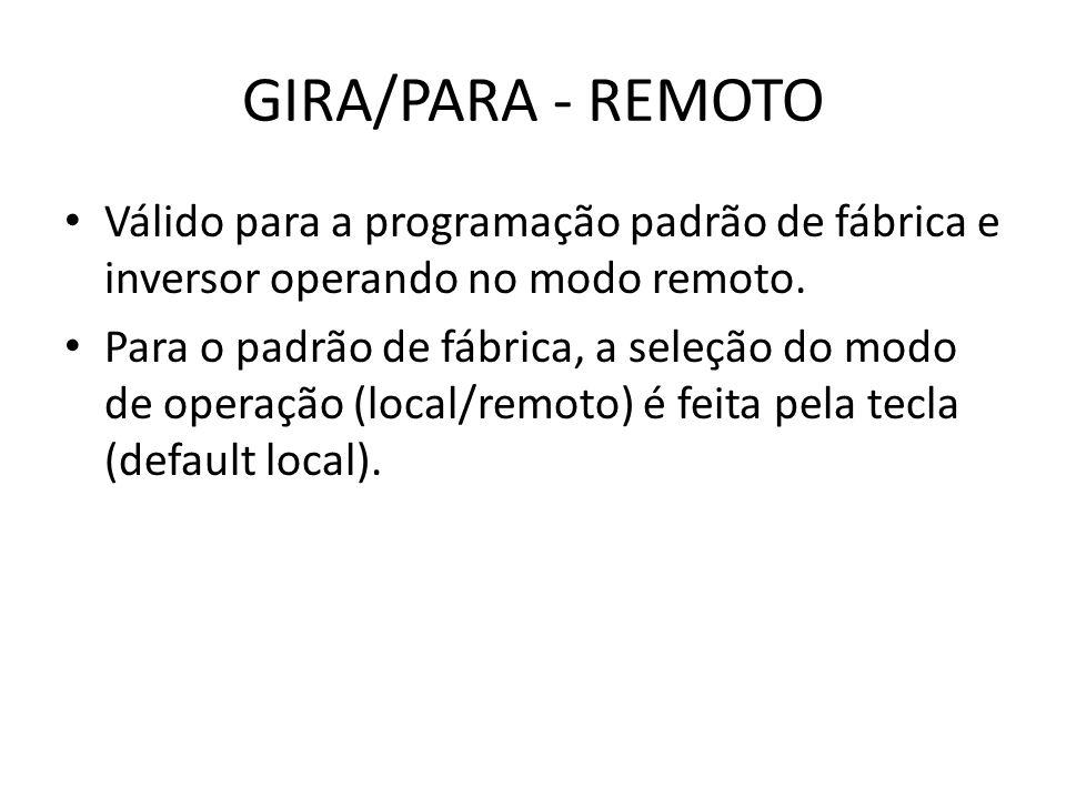 Válido para a programação padrão de fábrica e inversor operando no modo remoto. Para o padrão de fábrica, a seleção do modo de operação (local/remoto)