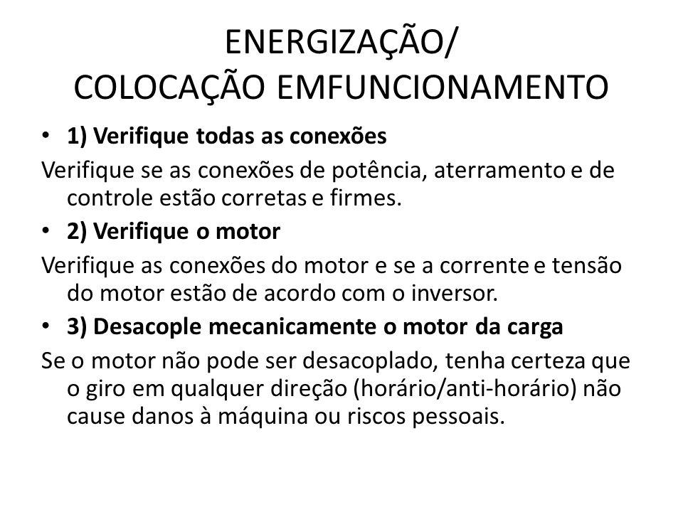 ENERGIZAÇÃO/ COLOCAÇÃO EMFUNCIONAMENTO 1) Verifique todas as conexões Verifique se as conexões de potência, aterramento e de controle estão corretas e