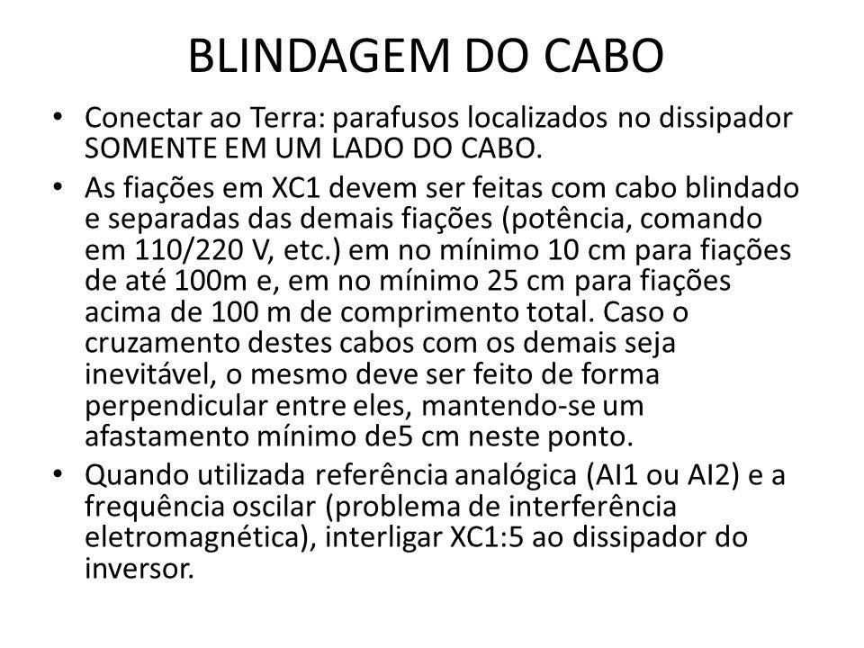 BLINDAGEM DO CABO Conectar ao Terra: parafusos localizados no dissipador SOMENTE EM UM LADO DO CABO. As fiações em XC1 devem ser feitas com cabo blind