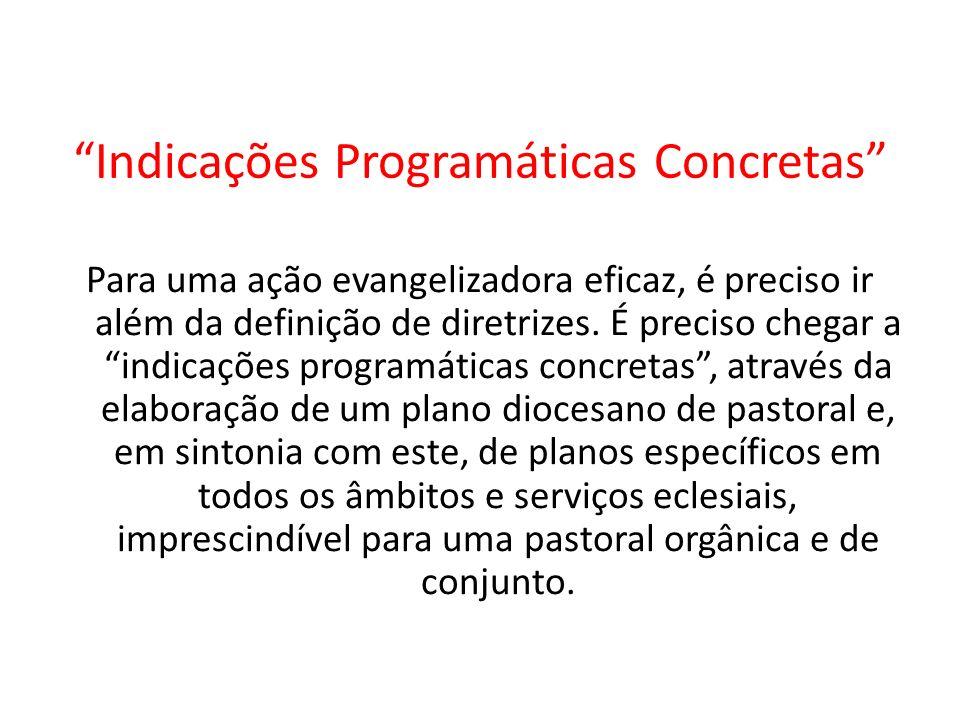 Indicações Programáticas Concretas Para uma ação evangelizadora eficaz, é preciso ir além da definição de diretrizes.