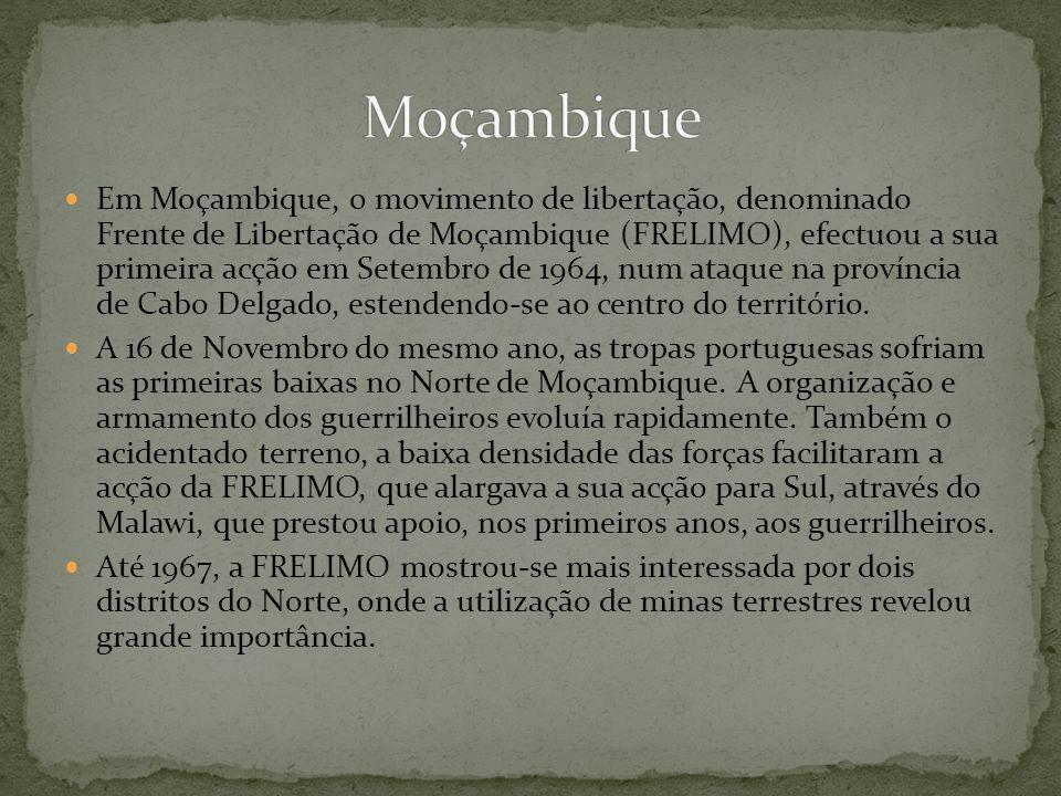 Em Moçambique, o movimento de libertação, denominado Frente de Libertação de Moçambique (FRELIMO), efectuou a sua primeira acção em Setembro de 1964,