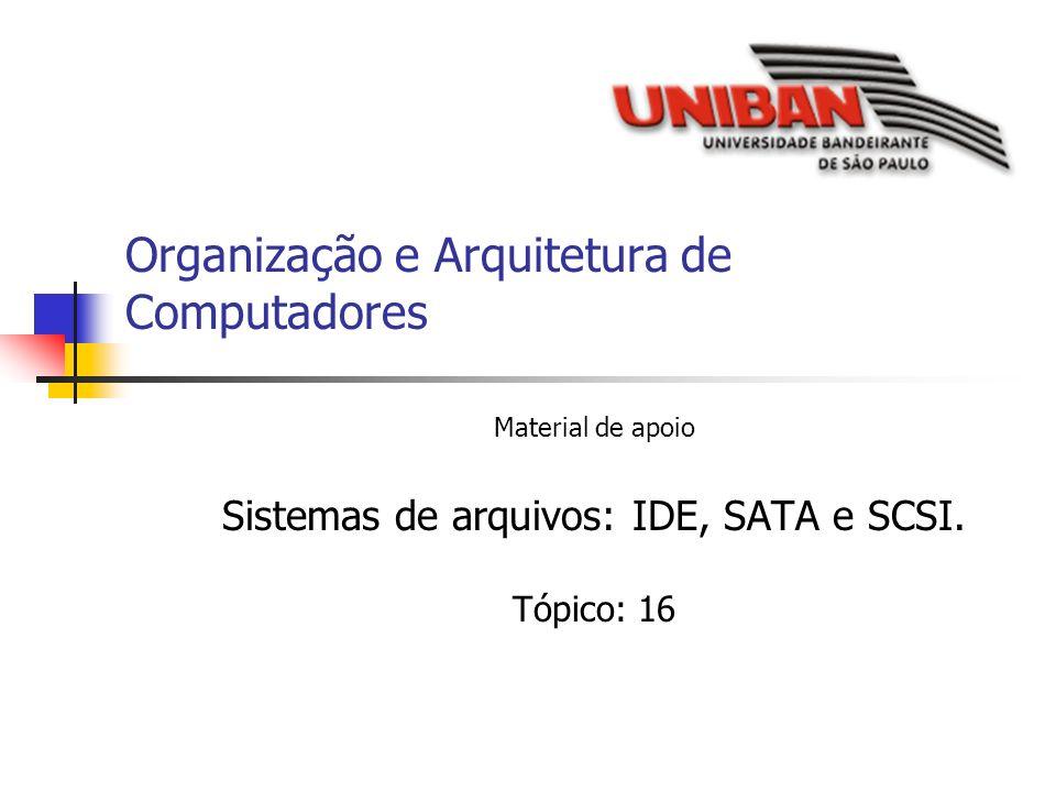 Organização e Arquitetura de Computadores Material de apoio Sistemas de arquivos: IDE, SATA e SCSI. Tópico: 16