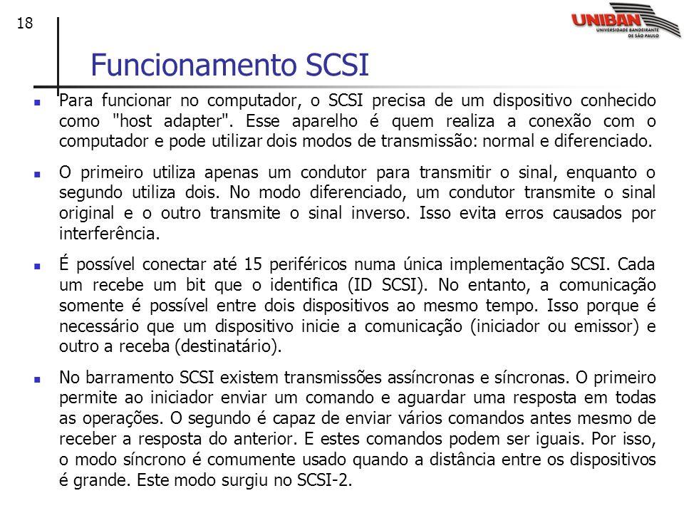 18 Funcionamento SCSI Para funcionar no computador, o SCSI precisa de um dispositivo conhecido como