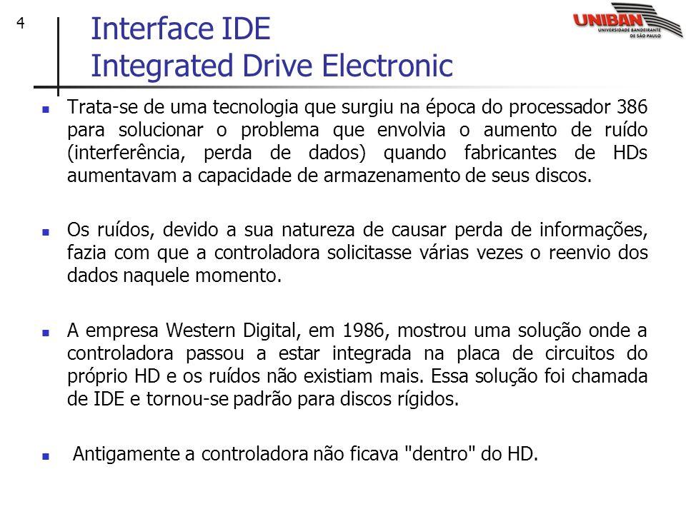 4 Interface IDE Integrated Drive Electronic Trata-se de uma tecnologia que surgiu na época do processador 386 para solucionar o problema que envolvia