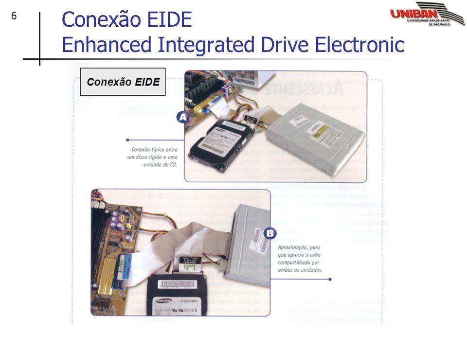 7 Interface EIDE Enhanced Integrated Drive Electronic Refere-se a uma melhora na interface IDE, que consiste em um aumento na velocidade de transferência de dados do HD e permite que num mesmo conector IDE seja instalado dois dispositivos.