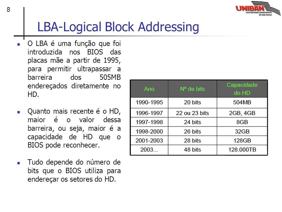 8 LBA-Logical Block Addressing O LBA é uma função que foi introduzida nos BIOS das placas mãe a partir de 1995, para permitir ultrapassar a barreira d
