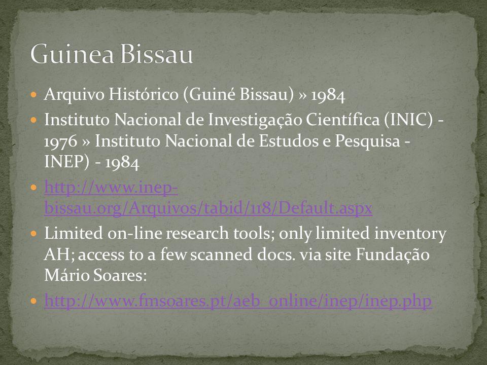 Project Inventário dos Arquivos do Ministério do Ultramar, incl.
