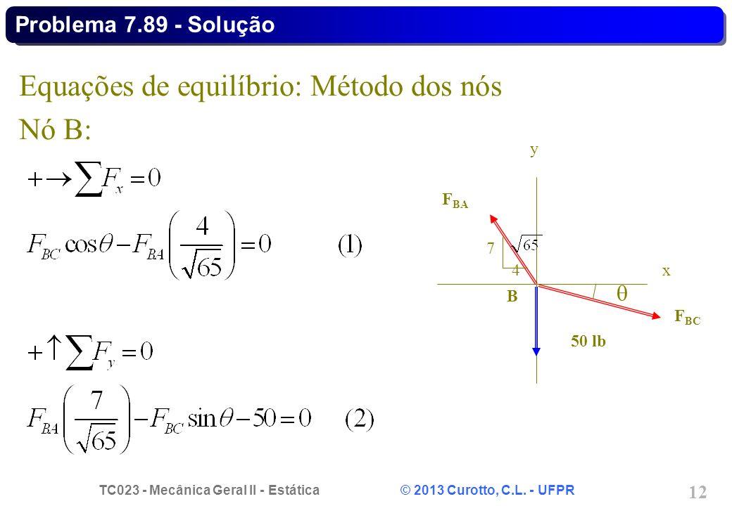 TC023 - Mecânica Geral II - Estática © 2013 Curotto, C.L. - UFPR 12 Equações de equilíbrio: Método dos nós Nó B: Problema 7.89 - Solução F BA F BC 50