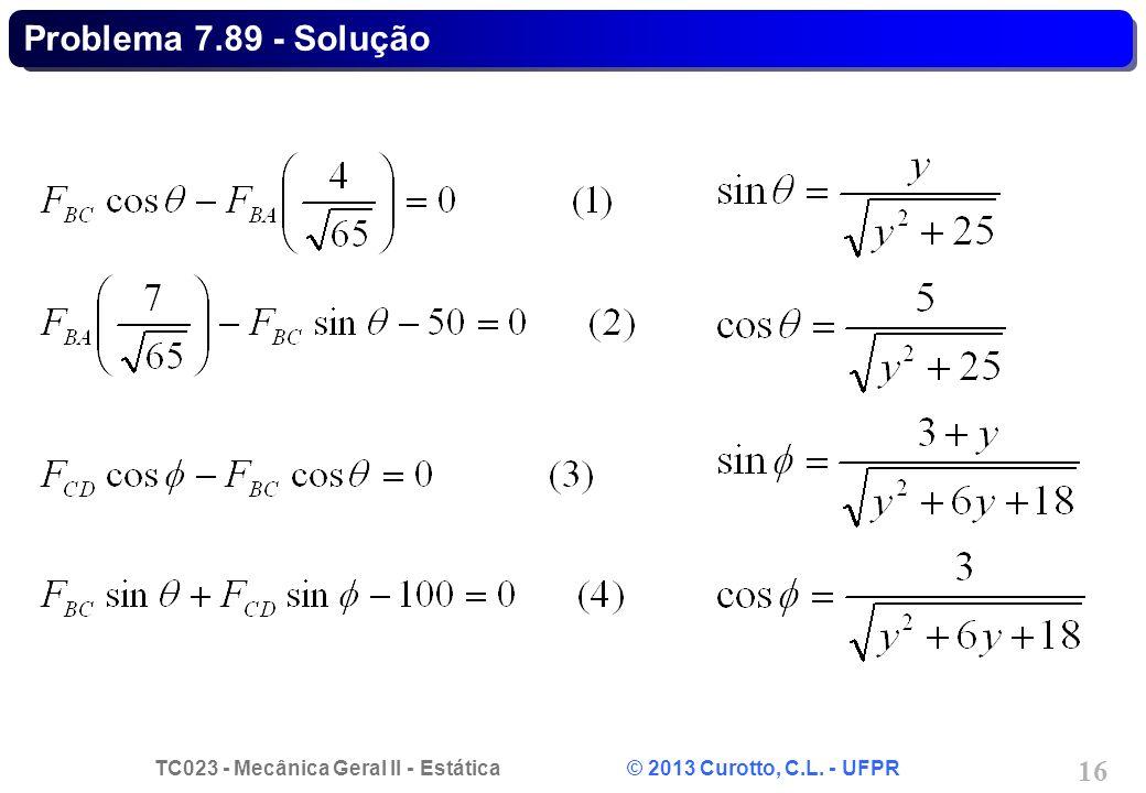 TC023 - Mecânica Geral II - Estática © 2013 Curotto, C.L. - UFPR 16 Problema 7.89 - Solução