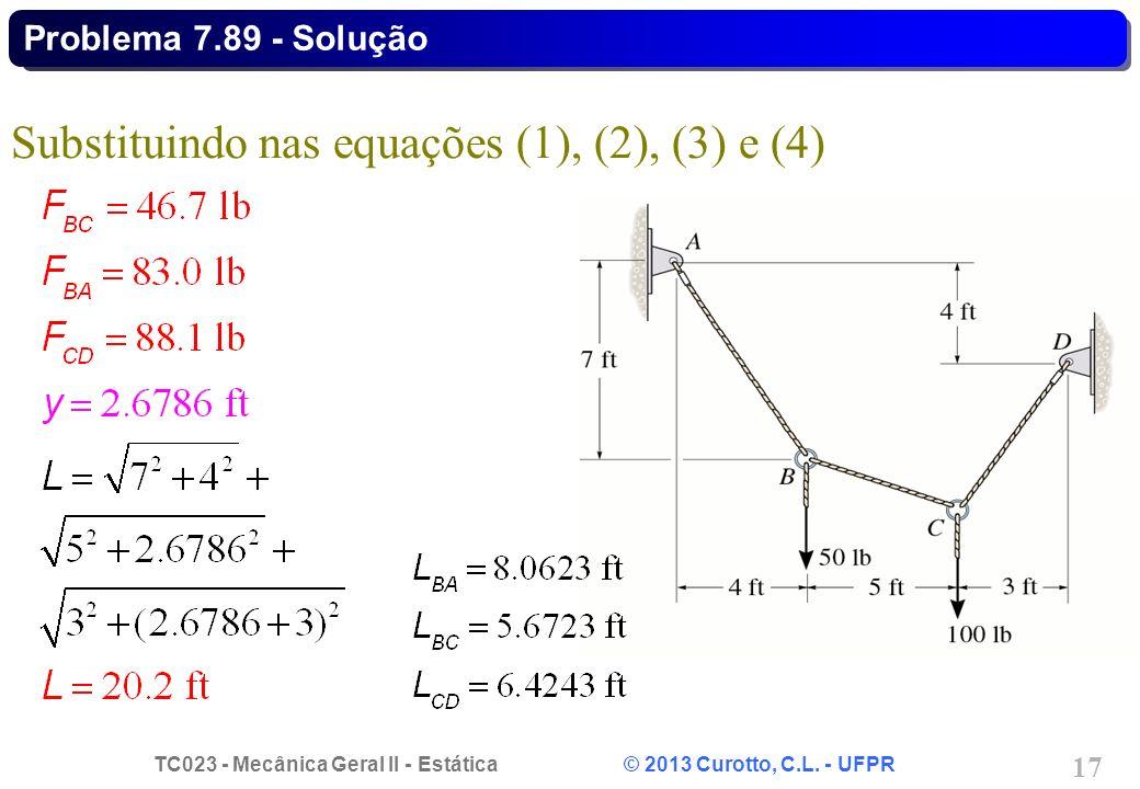 TC023 - Mecânica Geral II - Estática © 2013 Curotto, C.L. - UFPR 17 Substituindo nas equações (1), (2), (3) e (4) Problema 7.89 - Solução