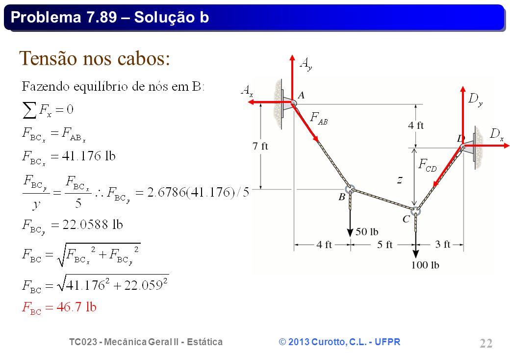 TC023 - Mecânica Geral II - Estática © 2013 Curotto, C.L. - UFPR 22 Tensão nos cabos: Problema 7.89 – Solução b