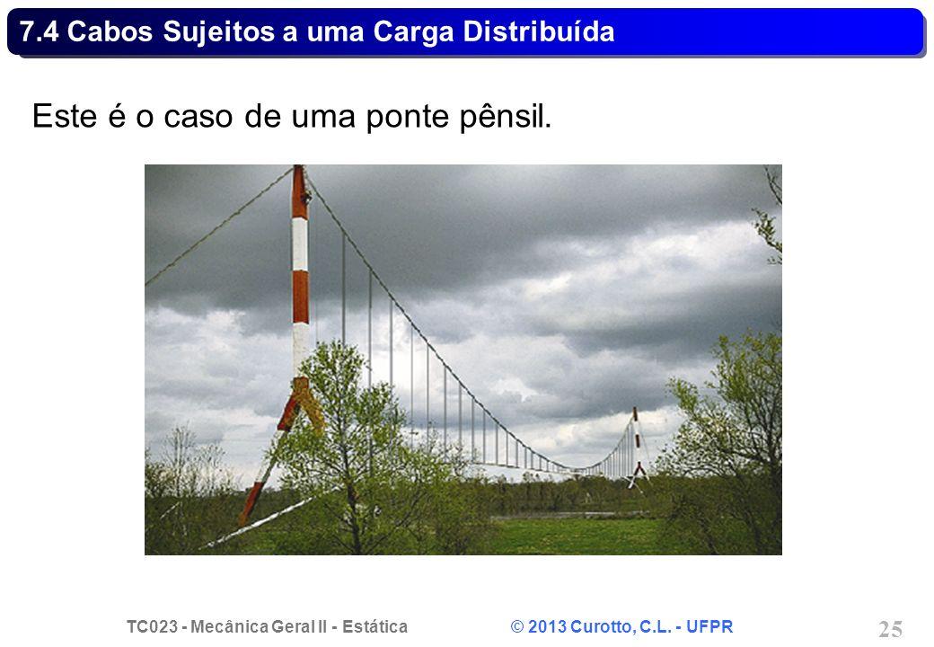 TC023 - Mecânica Geral II - Estática © 2013 Curotto, C.L. - UFPR 25 Este é o caso de uma ponte pênsil. 7.4 Cabos Sujeitos a uma Carga Distribuída