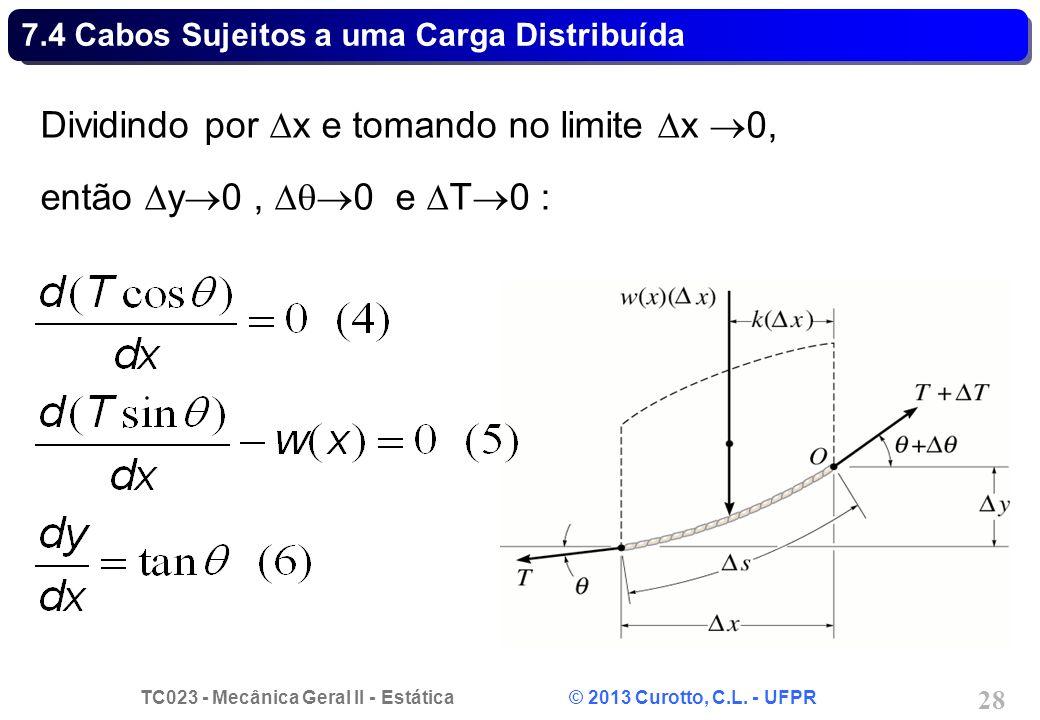 TC023 - Mecânica Geral II - Estática © 2013 Curotto, C.L. - UFPR 28 Dividindo por x e tomando no limite x 0, então y 0, 0 e T 0 : 7.4 Cabos Sujeitos a