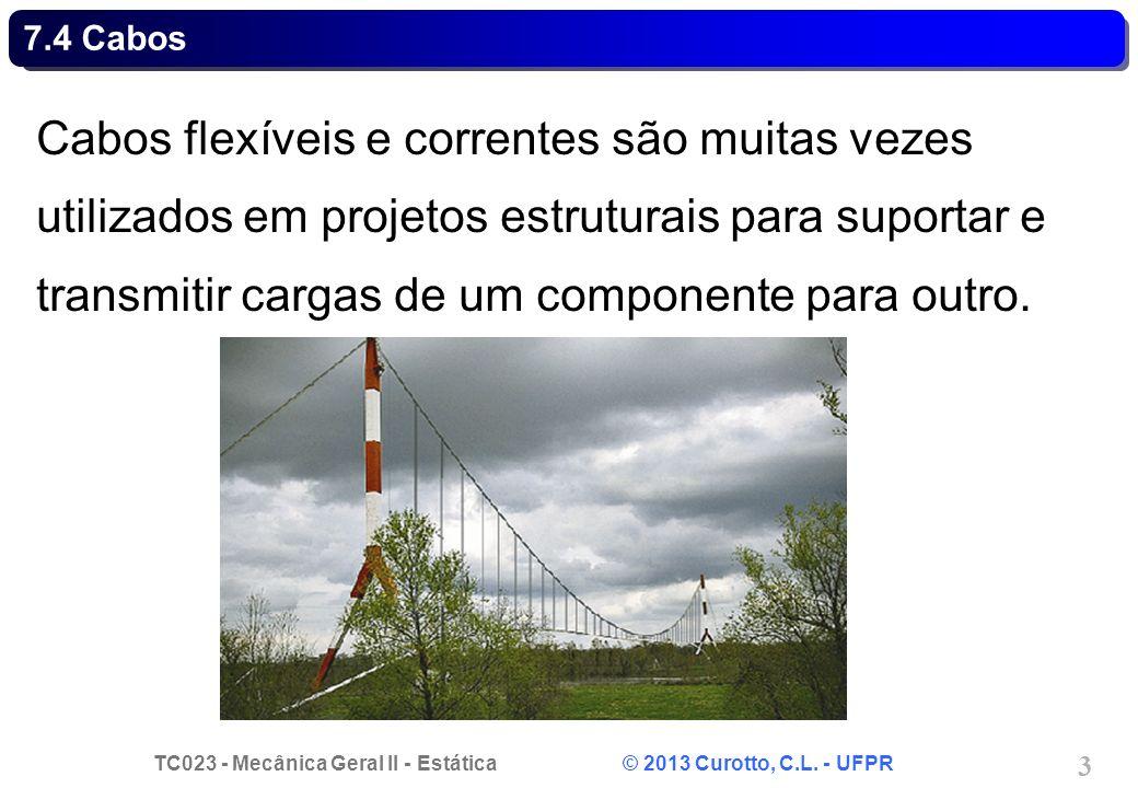TC023 - Mecânica Geral II - Estática © 2013 Curotto, C.L. - UFPR 3 Cabos flexíveis e correntes são muitas vezes utilizados em projetos estruturais par