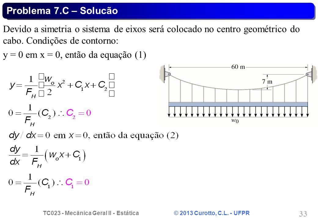 TC023 - Mecânica Geral II - Estática © 2013 Curotto, C.L. - UFPR 33 Devido a simetria o sistema de eixos será colocado no centro geométrico do cabo. C