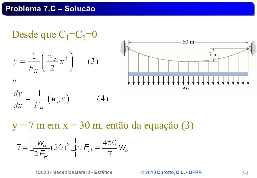 TC023 - Mecânica Geral II - Estática © 2013 Curotto, C.L. - UFPR 34 Desde que C 1 =C 2 =0 y = 7 m em x = 30 m, então da equação (3) Problema 7.C – Sol