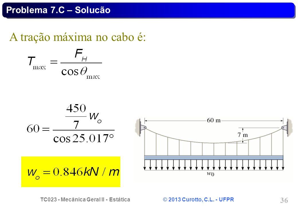 TC023 - Mecânica Geral II - Estática © 2013 Curotto, C.L. - UFPR 36 A tração máxima no cabo é: Problema 7.C – Solucão