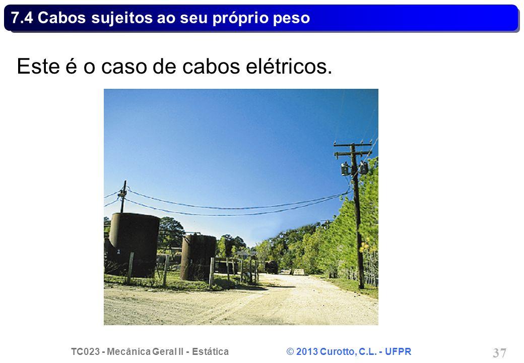 TC023 - Mecânica Geral II - Estática © 2013 Curotto, C.L. - UFPR 37 Este é o caso de cabos elétricos. 7.4 Cabos sujeitos ao seu próprio peso